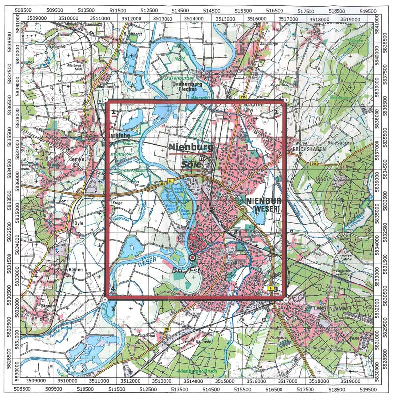 Karte von Nienburg
