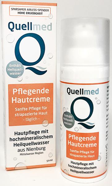 Spender Quellmed-Hautcreme mit Verpackung